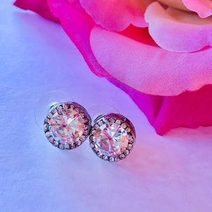 18K White Gold Plated Crystal Zircon Stud …